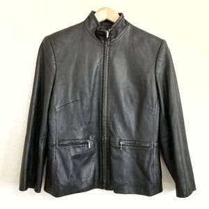 Valerie Stevens Black Lambskin Leather Moto Jacket
